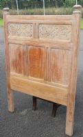 Carved Bleached Oak Single Bed Head